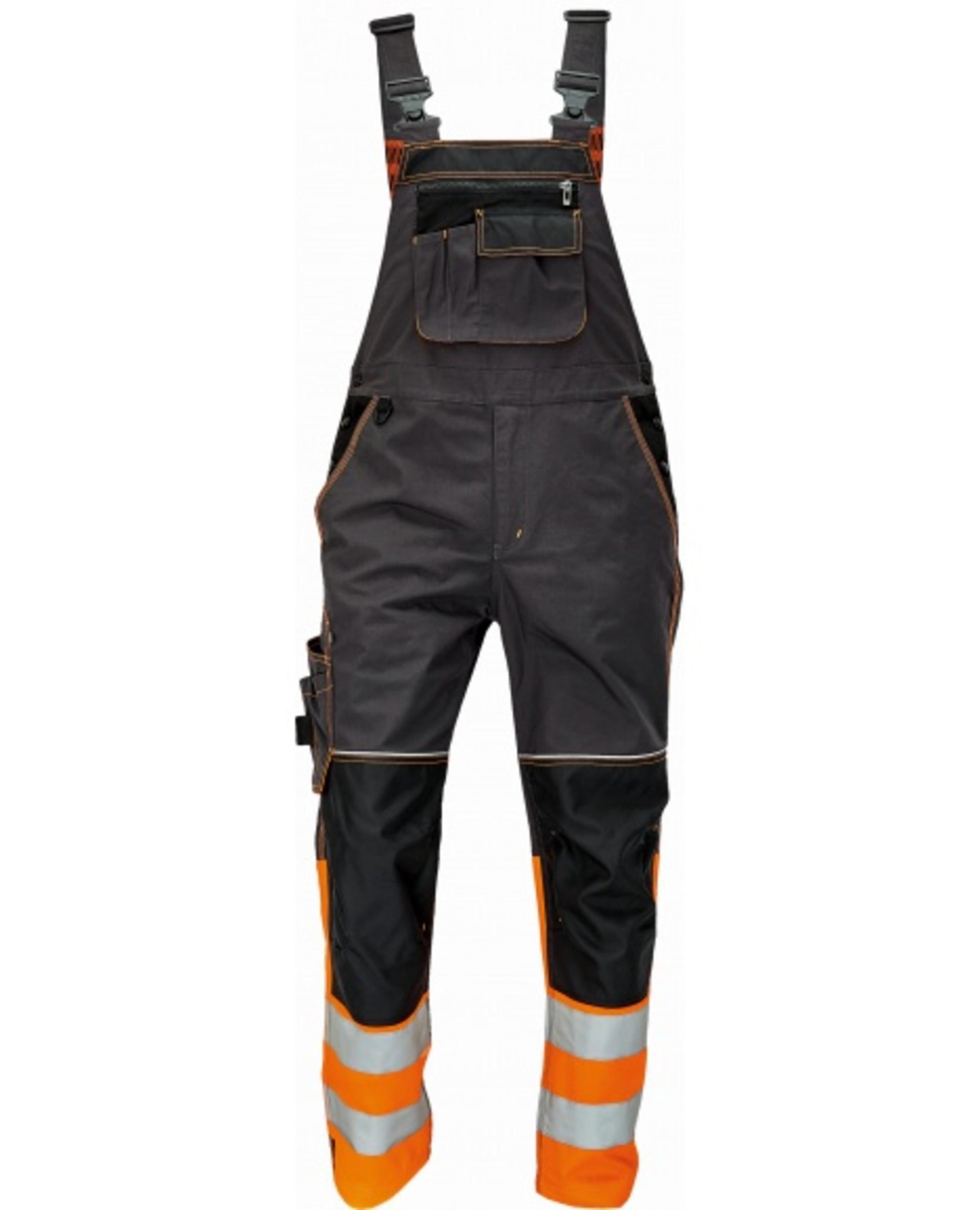 Cerva KNOXFIELD REFLEX Kalhoty pracovní s laclem černá/oranžová 50