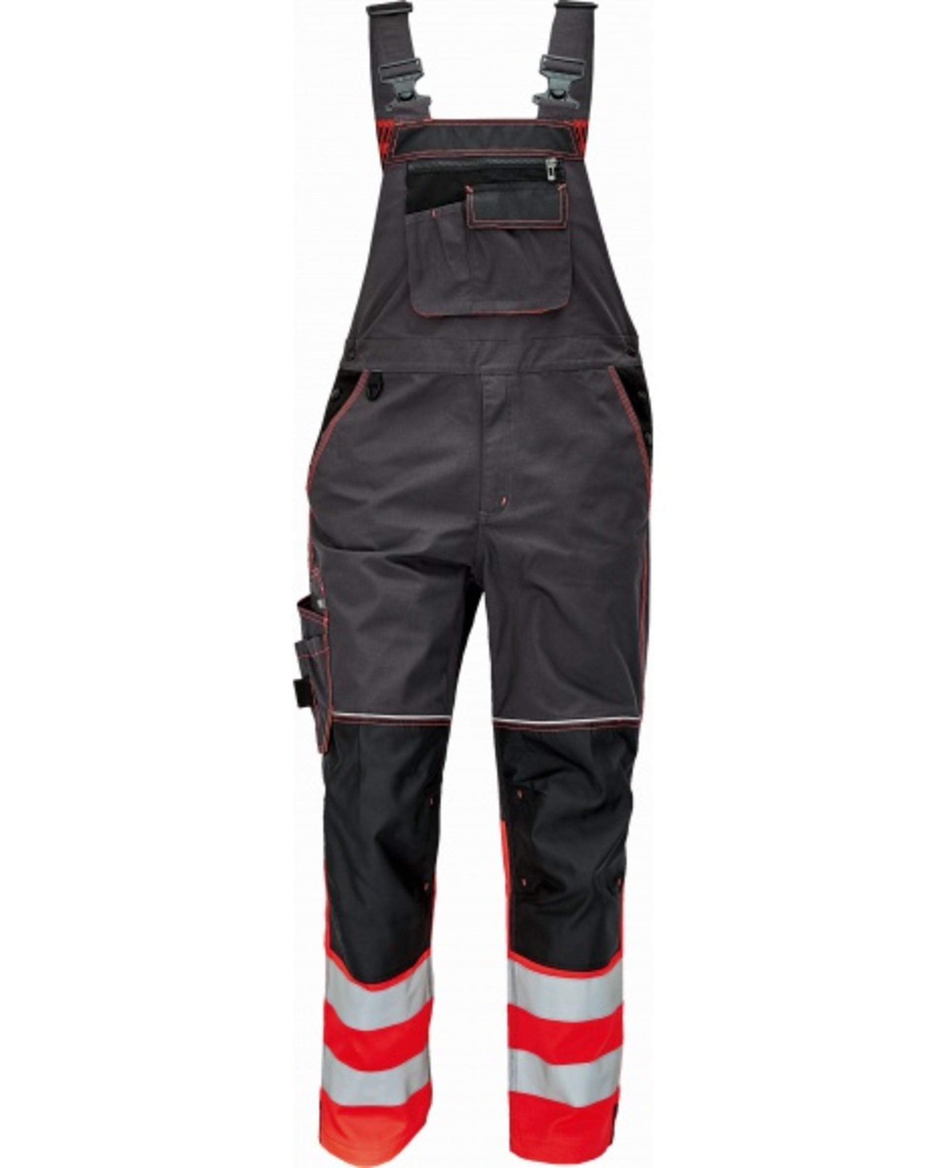 Cerva KNOXFIELD REFLEX Kalhoty pracovní s laclem černá/červená 50