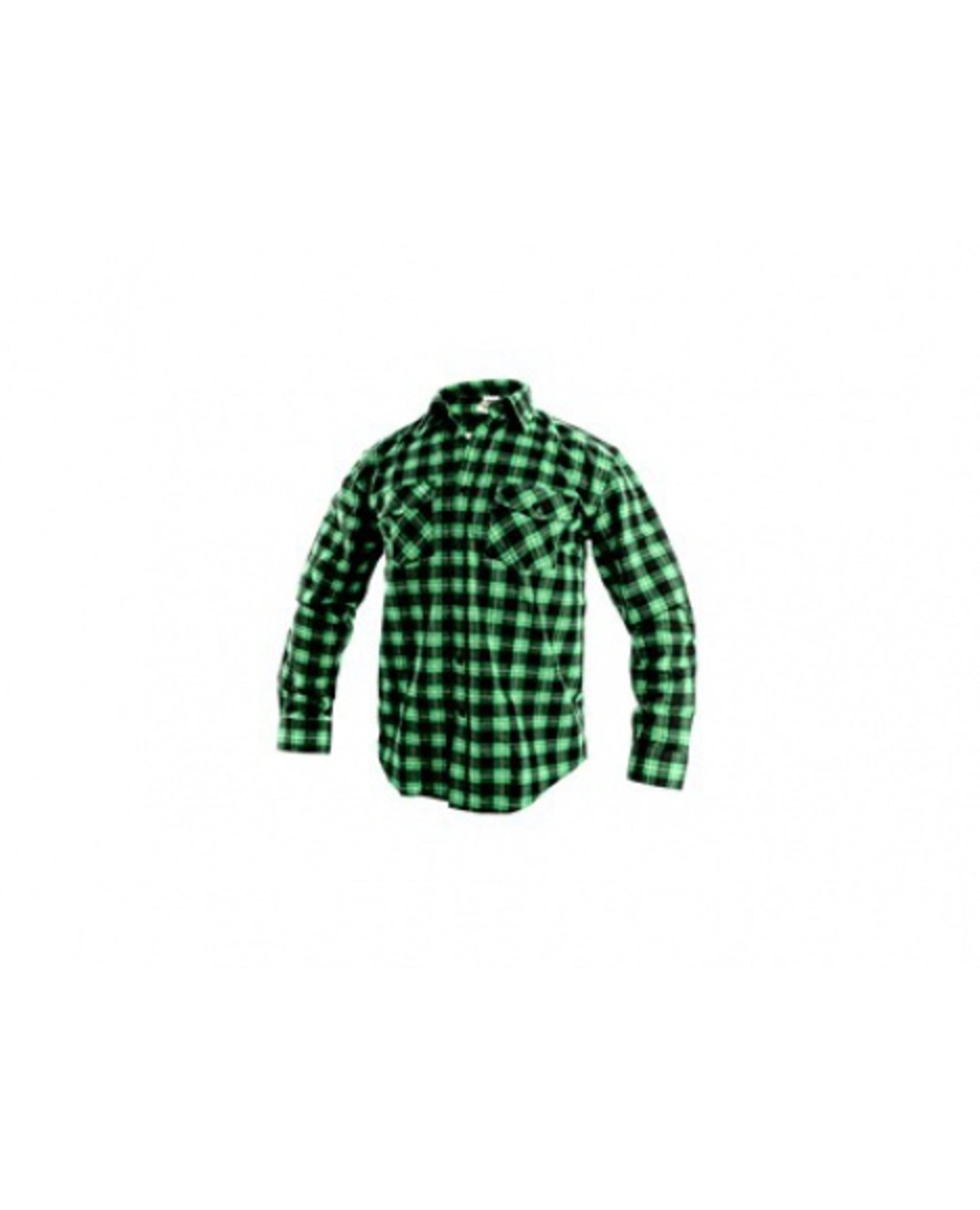 CXS TOM 1070 pánská dlouhý rukáv flanelová Košile zelená/černá 43/44 XL