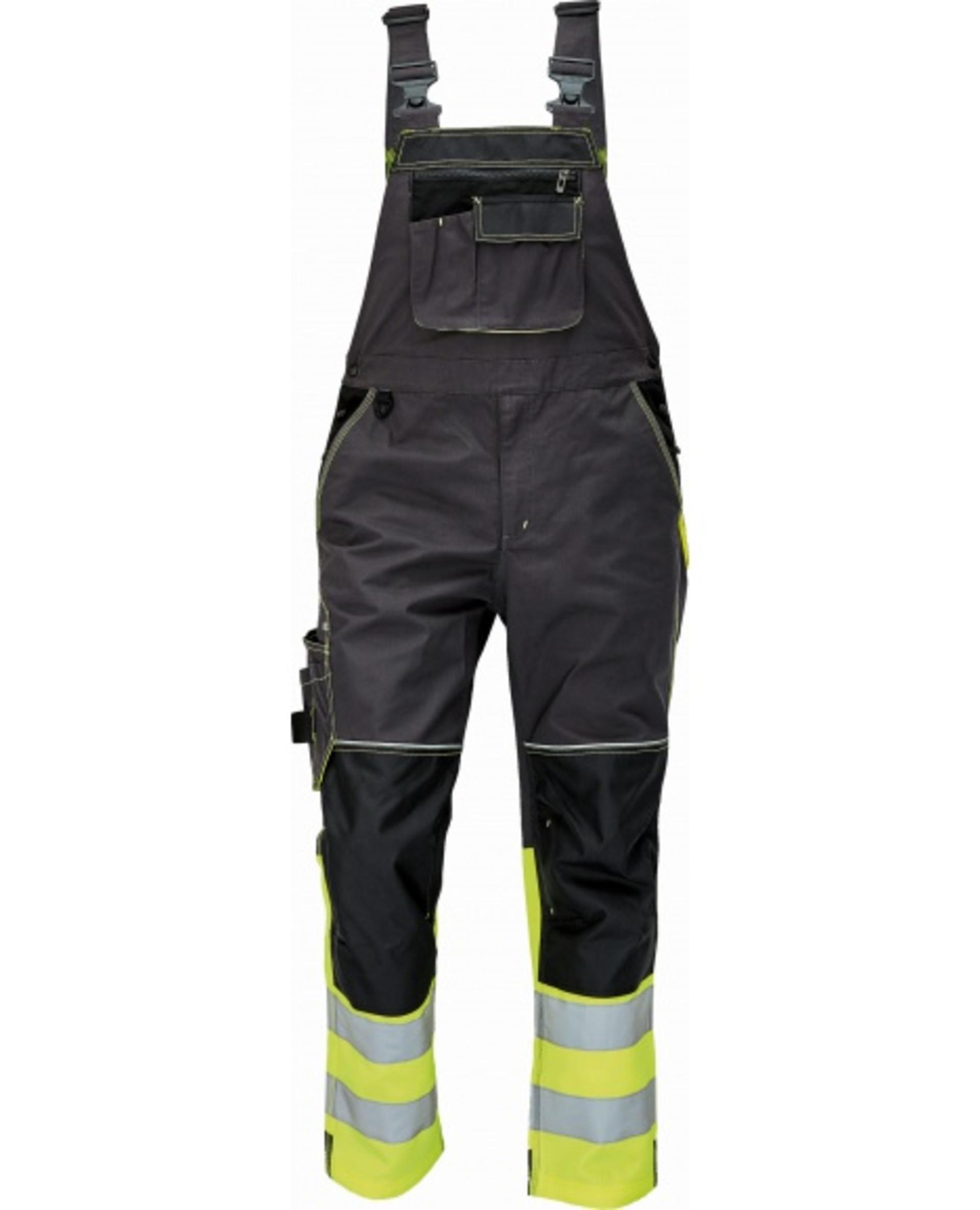 Cerva KNOXFIELD REFLEX Kalhoty pracovní s laclem černá/žlutá 50