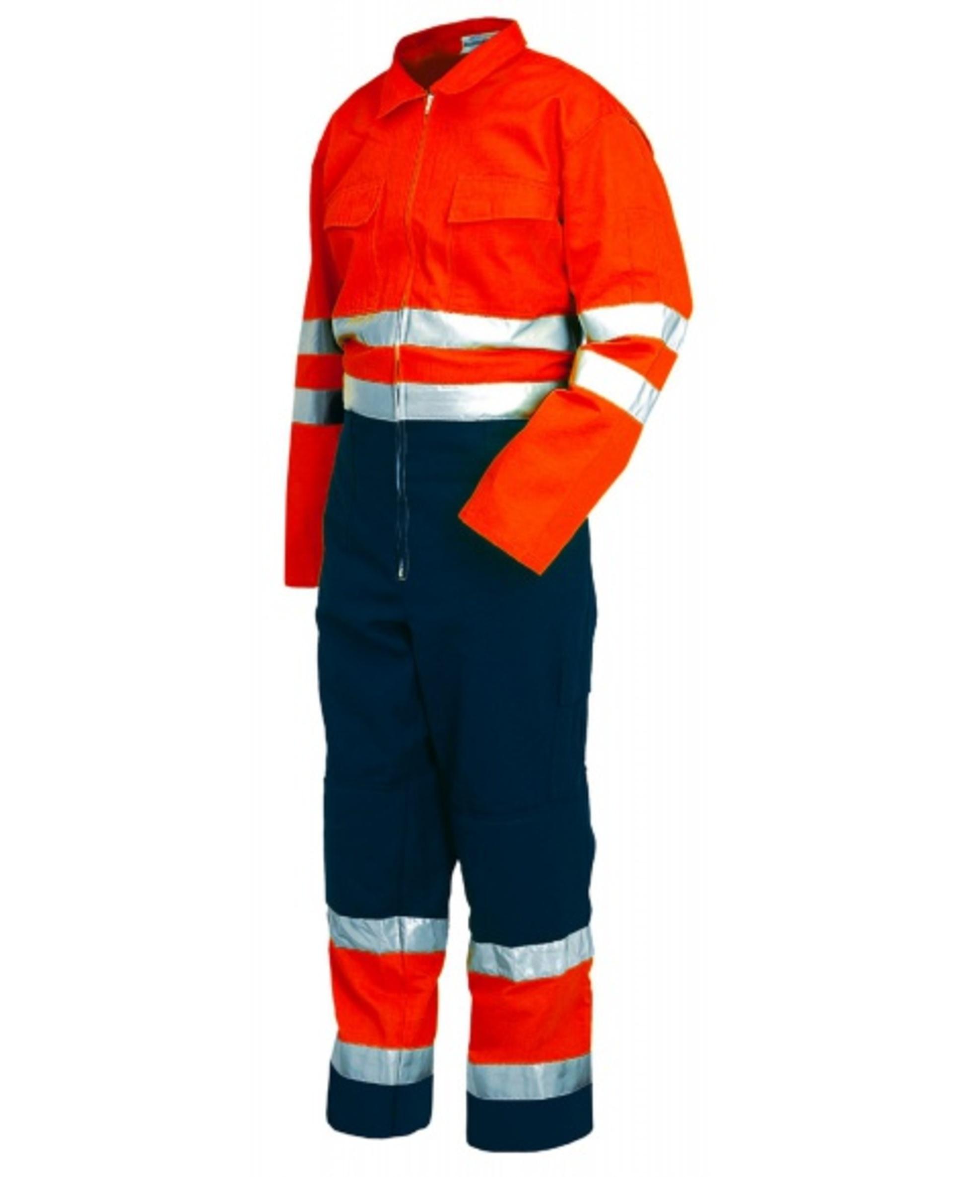 Levně ISSA 8570 Kombinéza reflexní oranžová/tm.modrá S