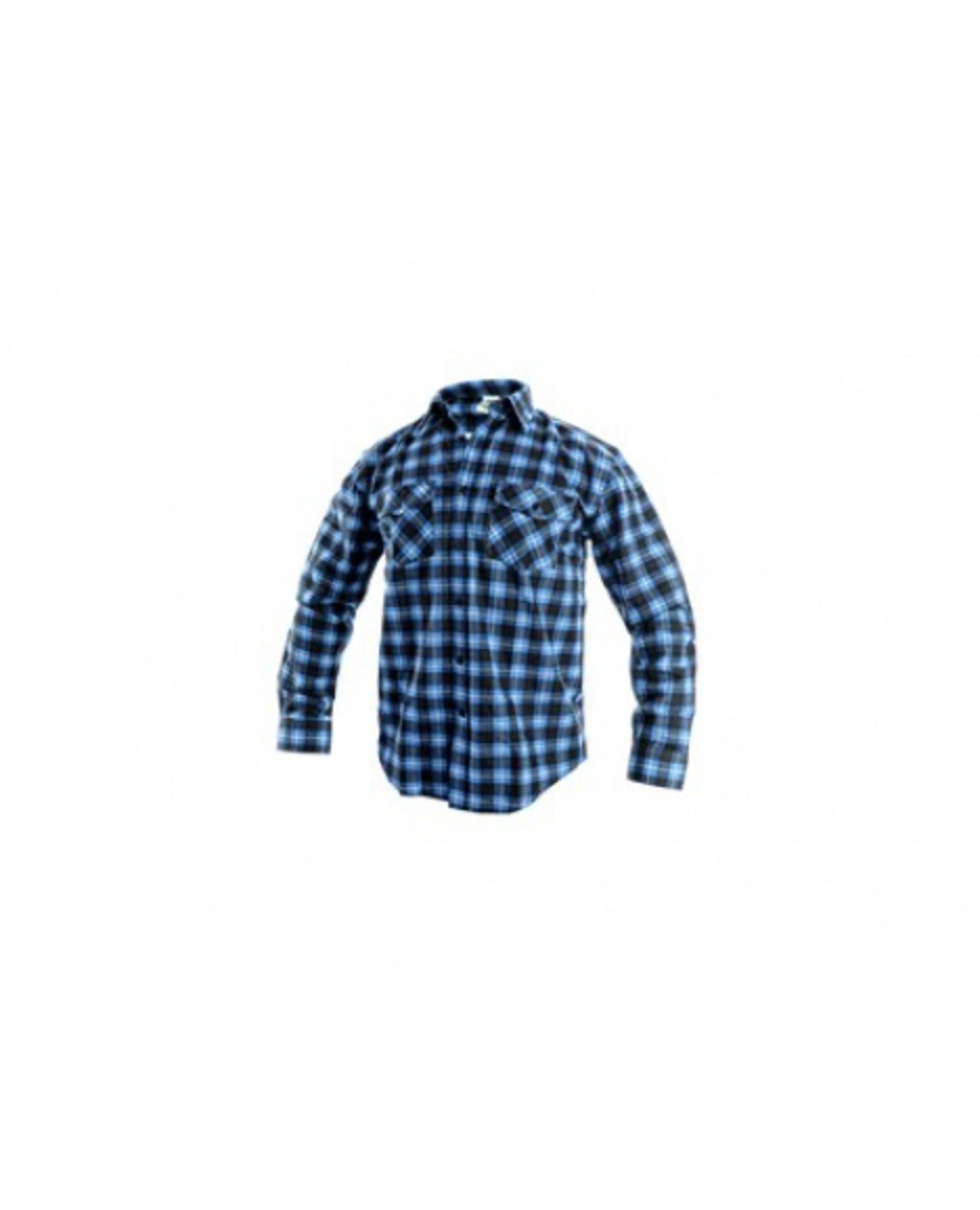 CXS TOM 1070 pánská dlouhý rukáv flanelová Košile modrá/černá 43/44 XL