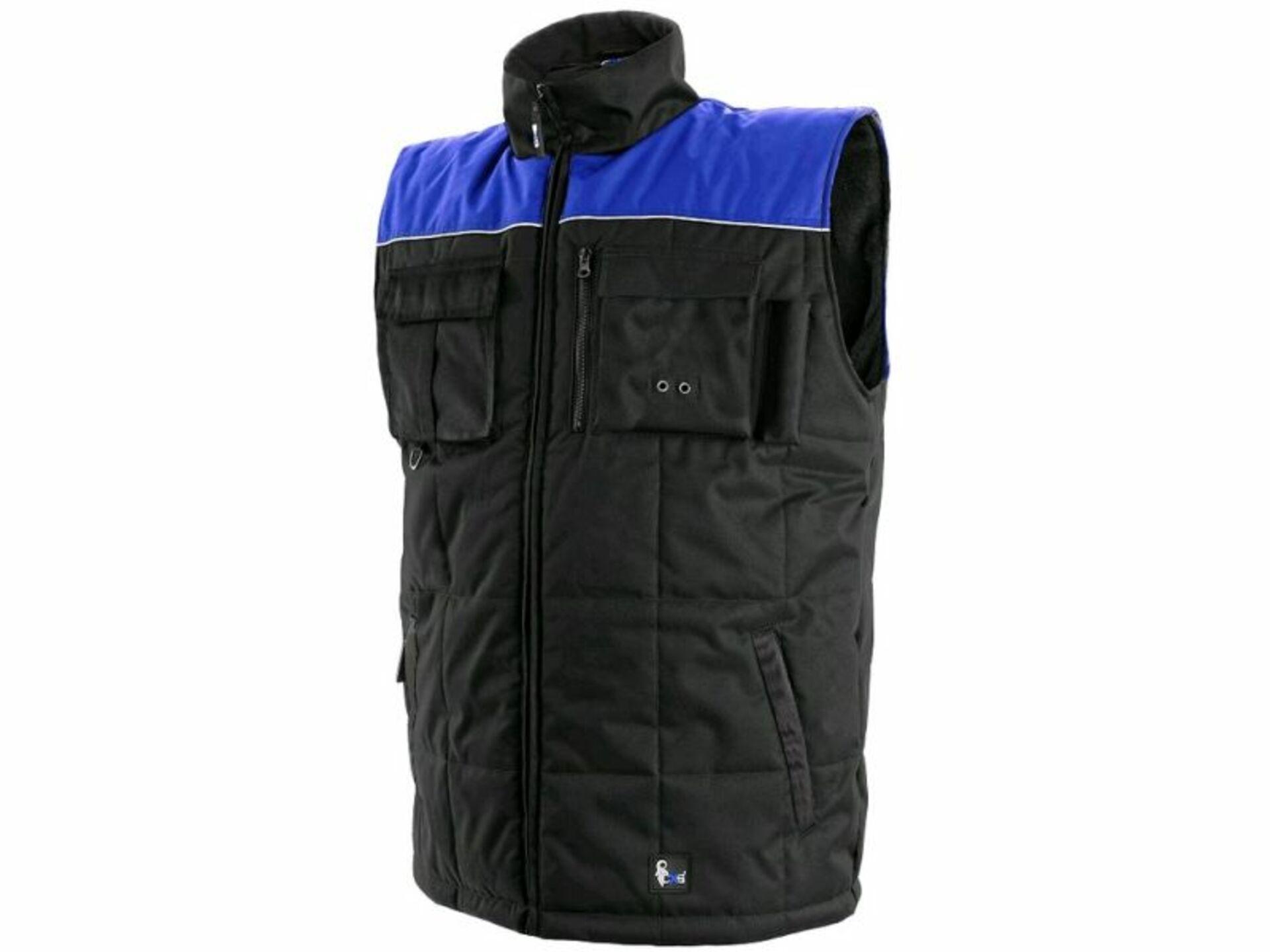 CXS SEATTLE fleecová Vesta zimní černá/modrá 3XL